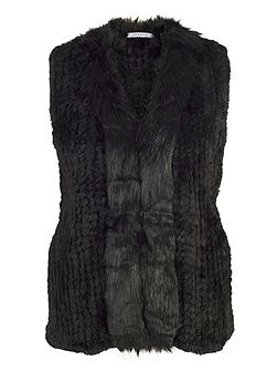 Faux Fur Gilet with Fur Trim