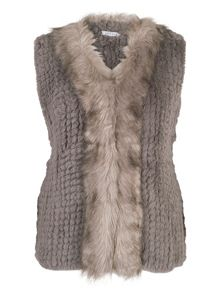Chesca Faux Fur Gilet with Fur Trim