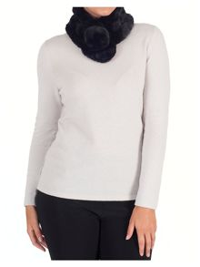 Chesca Faux Fur Collar with Pom-Pom Fastening