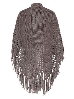 Large Fringed Shawl with Crocheted Panel