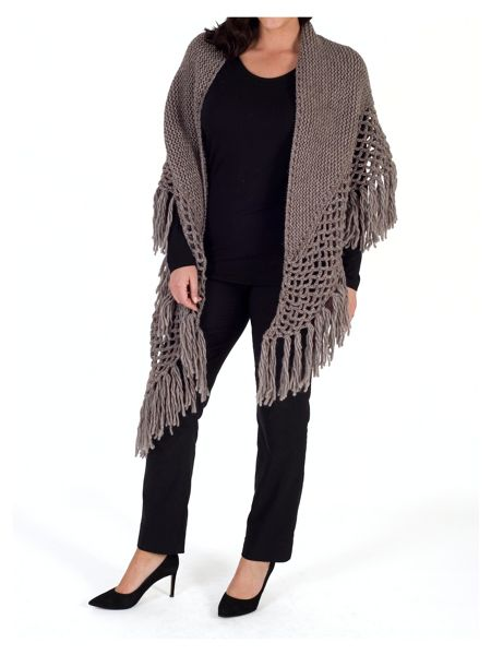 Chesca Large Fringed Shawl with Crocheted Panel