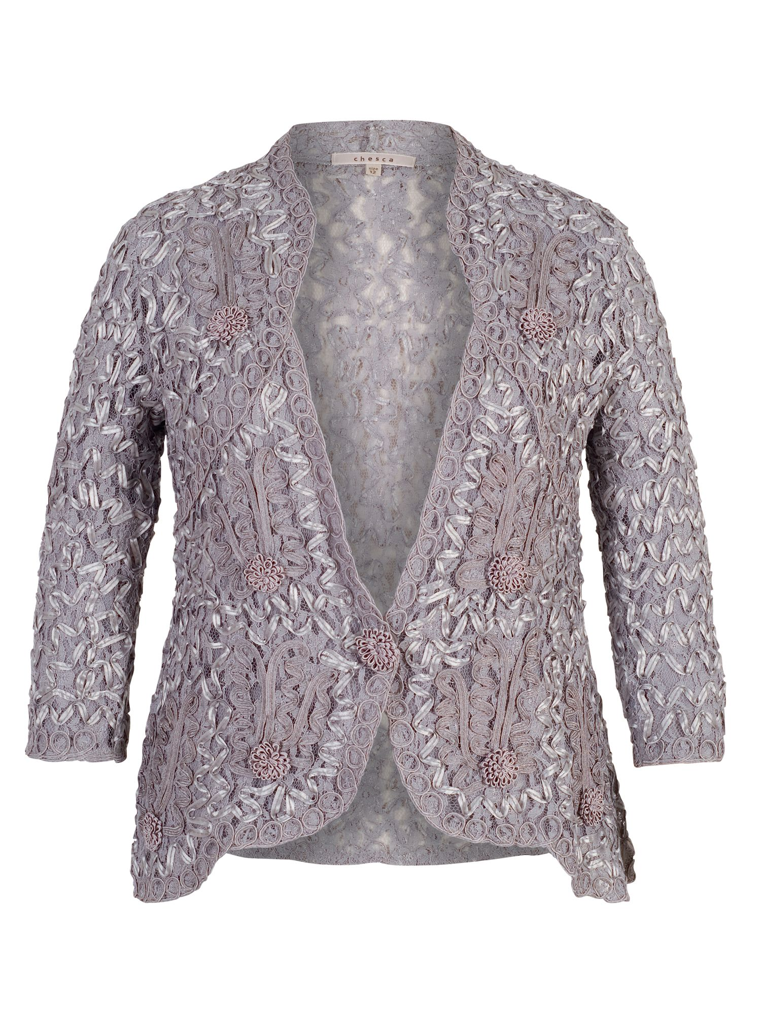 Chesca Lace Jacket with Cornelli Trim, Grey