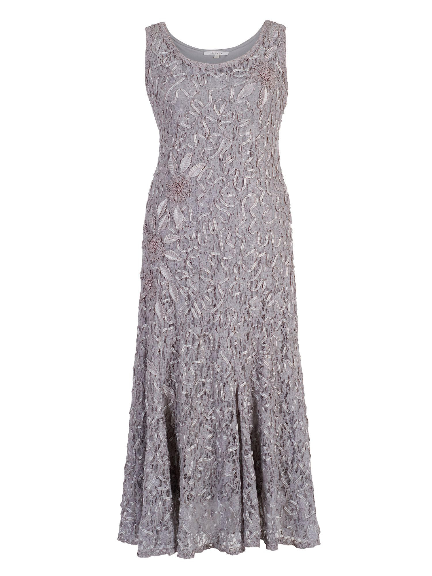 Chesca Lace Dress with Cornelli Trim, Grey