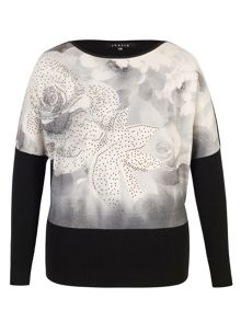 Chesca Rose Print Diamante Trim Jumper