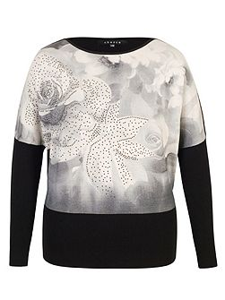 Rose Print Diamante Trim Jumper