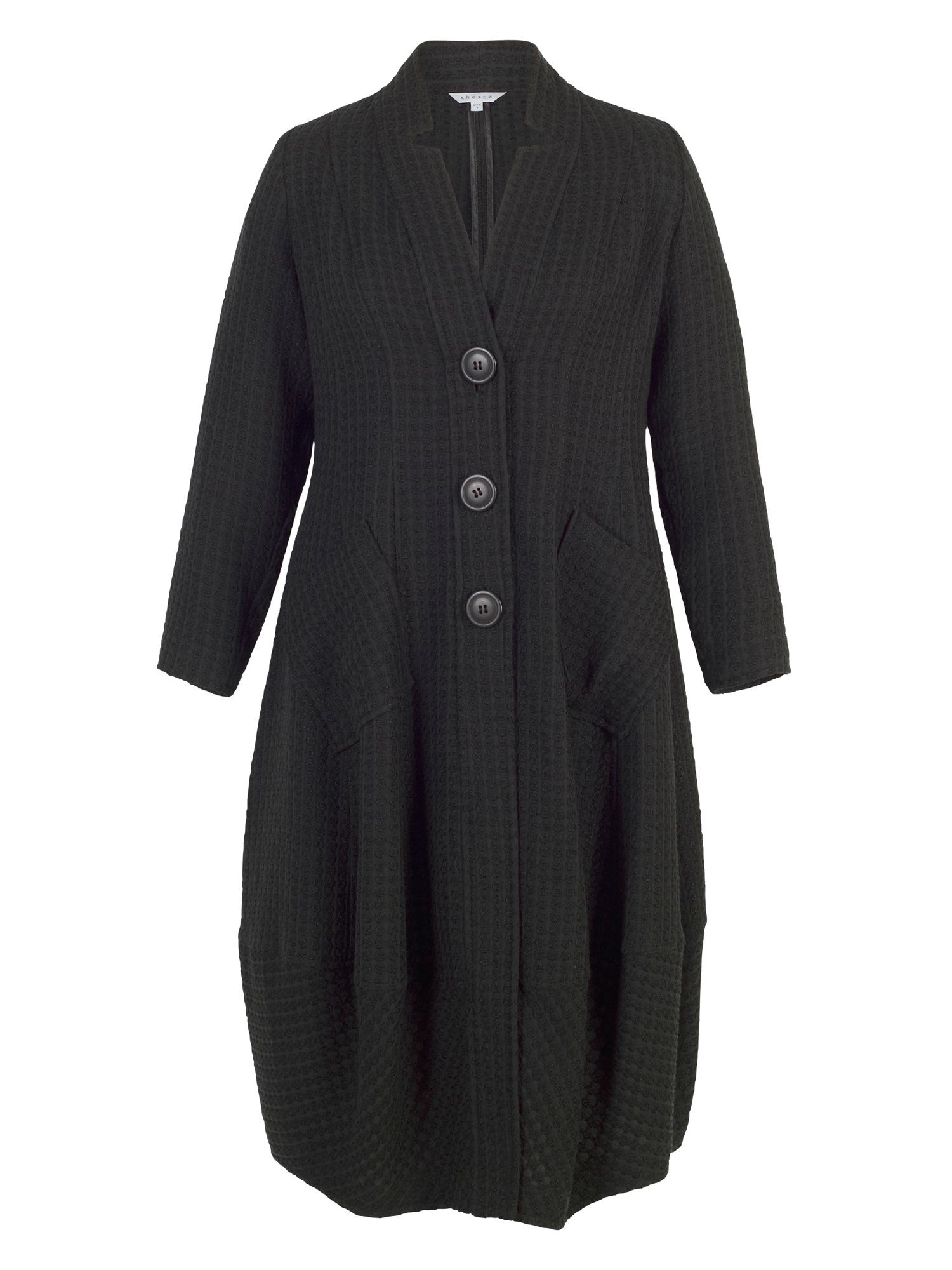 Chesca Notch Collar Basket Weave Coat, Black