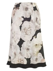 Chesca Rose Print Skirt with Contrast Trim