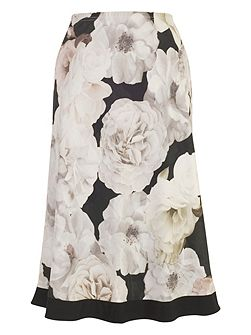 Rose Print Skirt with Contrast Trim