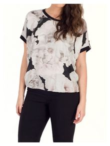 Chesca Rose Print Top with Contrast Piping Trim