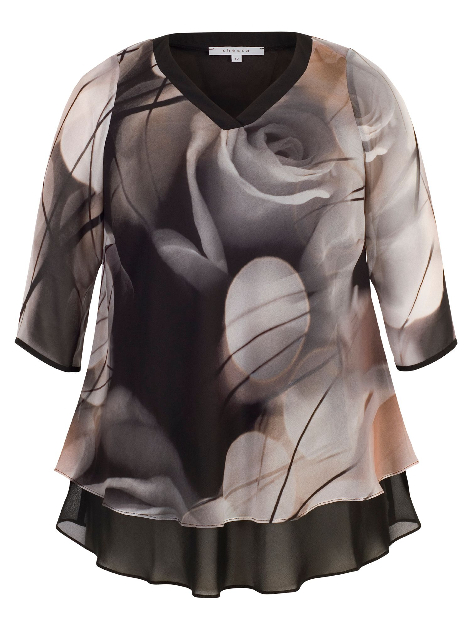 Chesca Misty Rose Layered Chiffon Tunic, Black