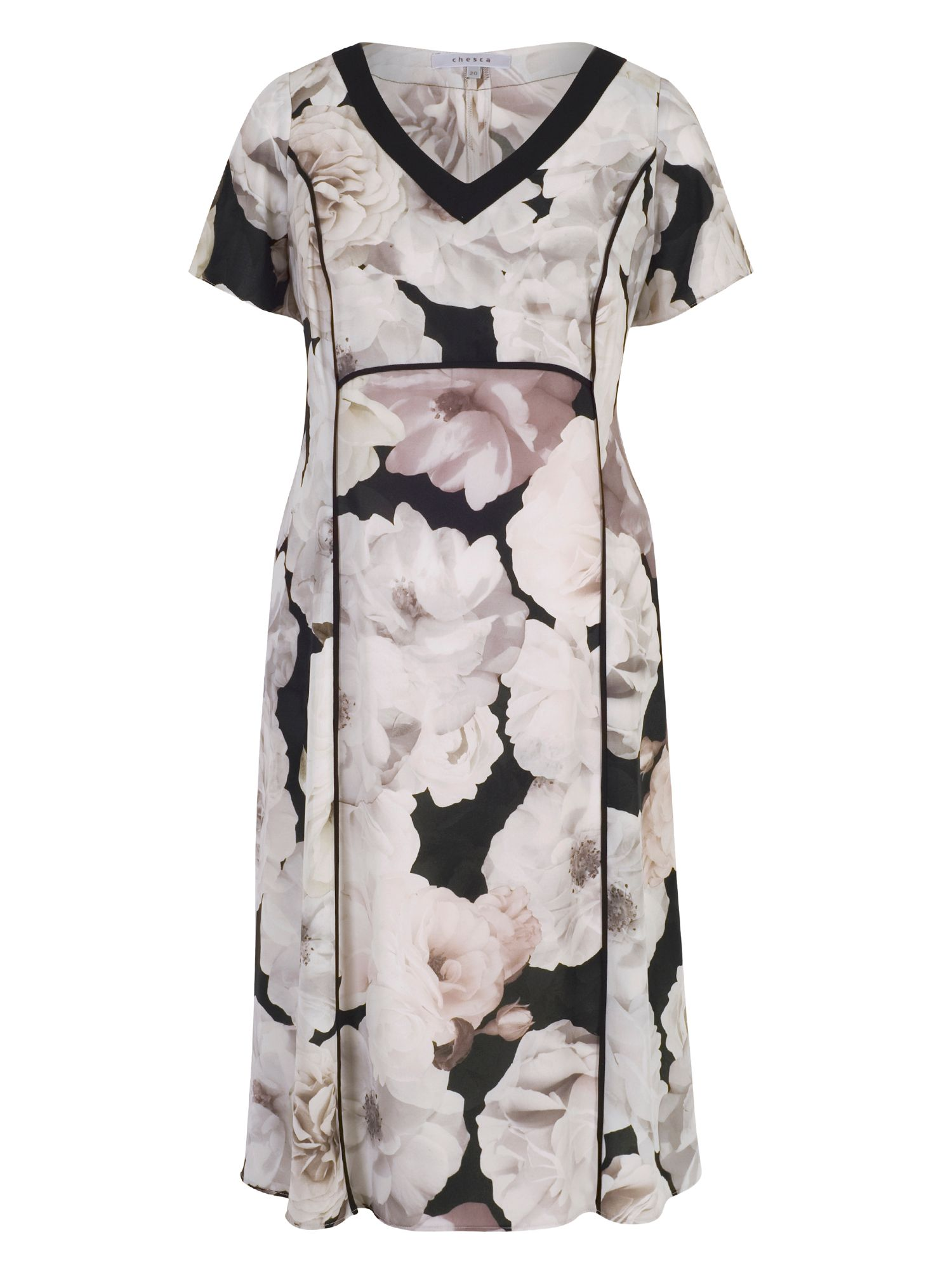 Chesca Rose Print Dress with Contrast Trim, Multi-Coloured
