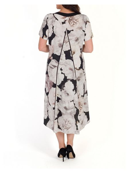 Chesca Rose Print Dress with Contrast Trim