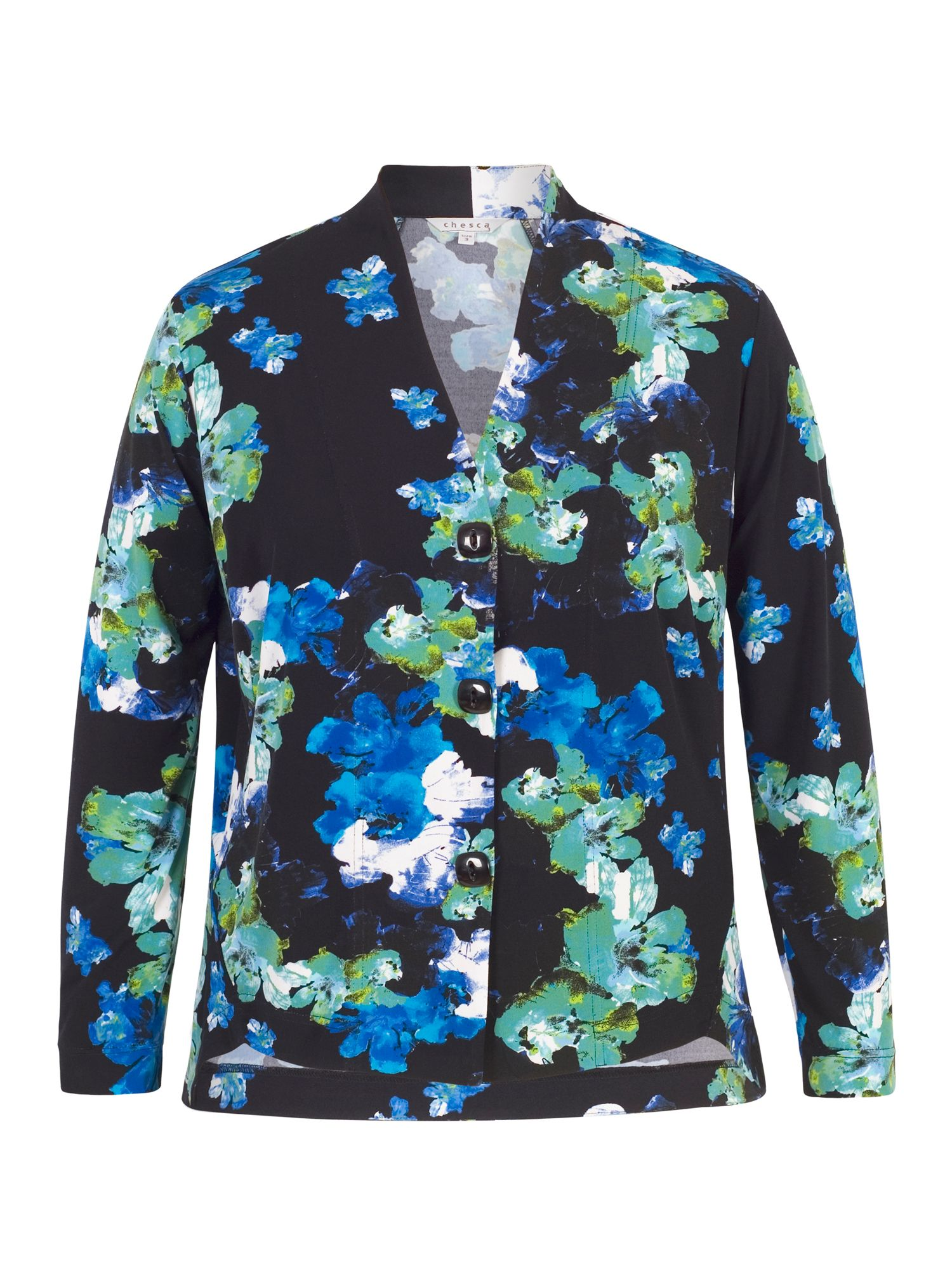 Chesca Abstract Floral Print Jersey Shrug, Blue
