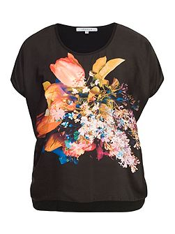 Tulip Print Jersey Backed Top