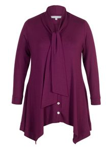 Chesca Pussy Bow Button Thru Tunic