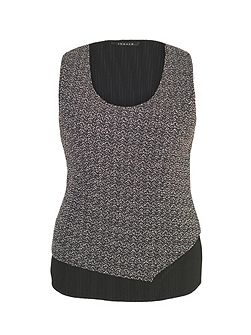 Herringbone Print Crush Pleat Top