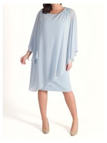 Chesca Chiffon Layer Dress with Shoulder Beads