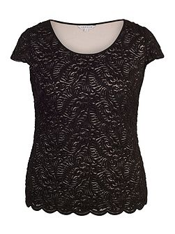 Scallop Lace Top with Contrast Lining