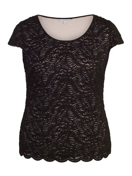 Chesca Scallop Lace Top with Contrast Lining