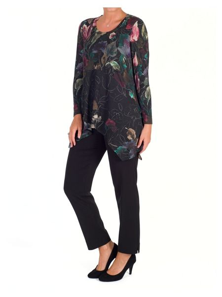 Chesca Floral Border Print Jersey Tunic