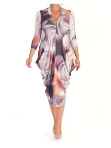 Chesca Misty Rose Notch Neck Jersey Dress