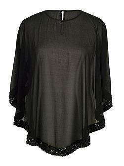 Chiffon Top with Ring Sequin Trim