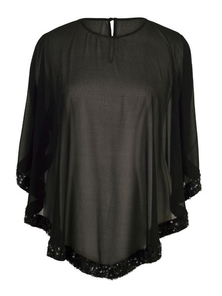 Chesca Chiffon Top with Ring Sequin Trim