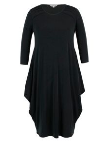 Chesca Black Tuck Detail Jersey Dress