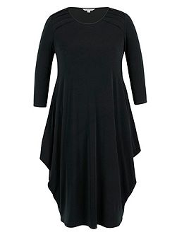 Black Tuck Detail Jersey Dress