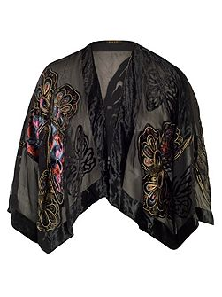 Butterfly Printed Velvet Jacket