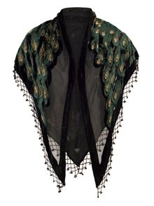 Chesca Peacock Feather Printed Velvet Shawl