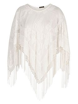 Pure Silk and Velvet Devoré Fringed Poncho