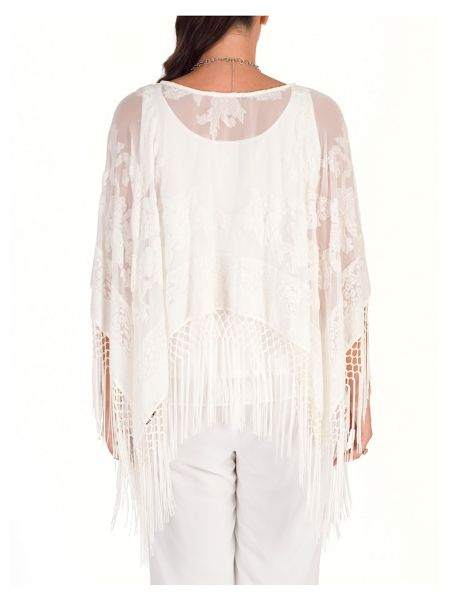 Chesca Pure Silk and Velvet Devoré Fringed Poncho