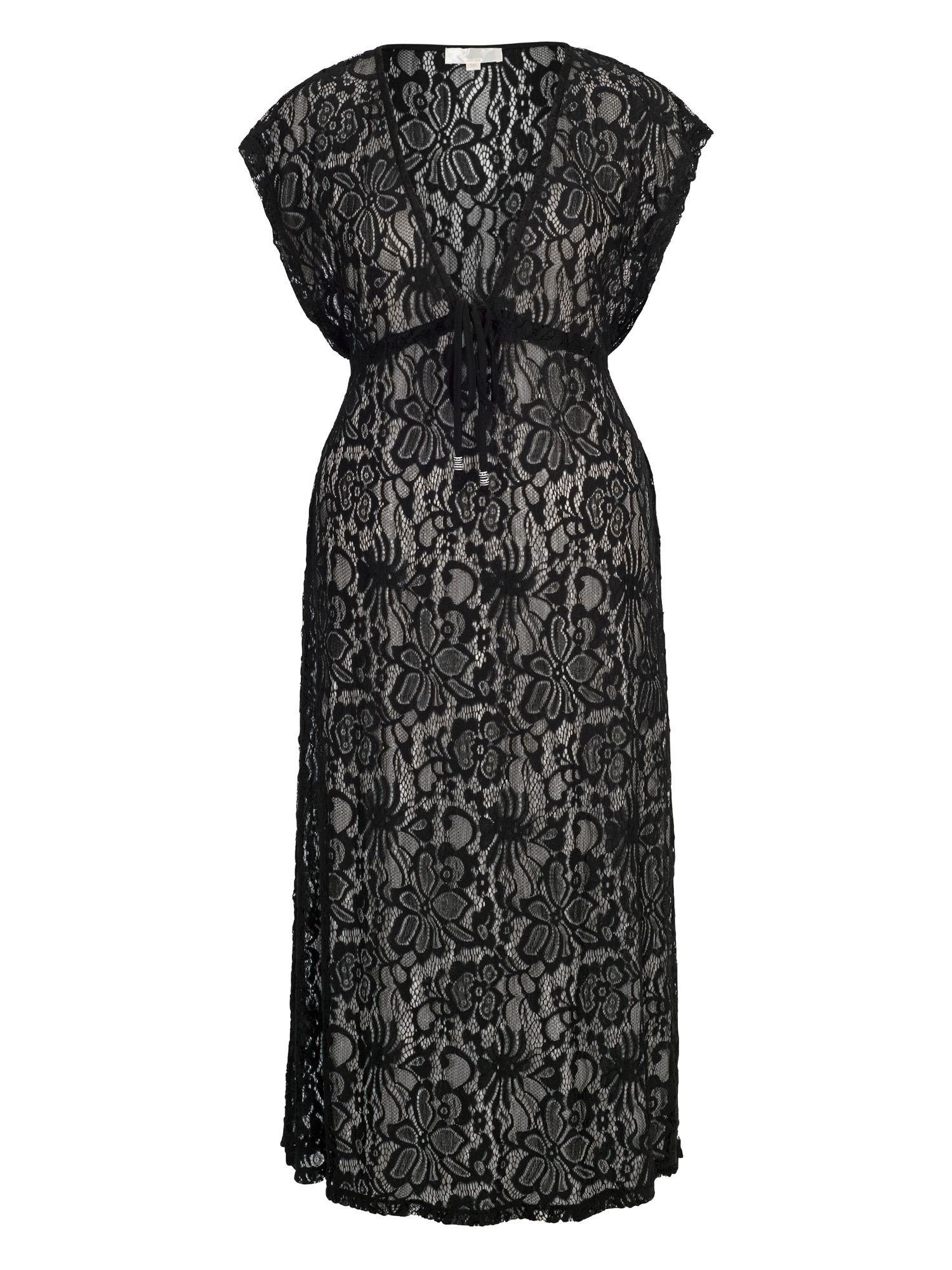 Chesca Lace Maxi Cover Up with Cap Sleeve, Black