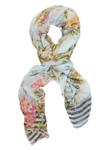 Chesca Floral Printed Scarf with Beaded Detail