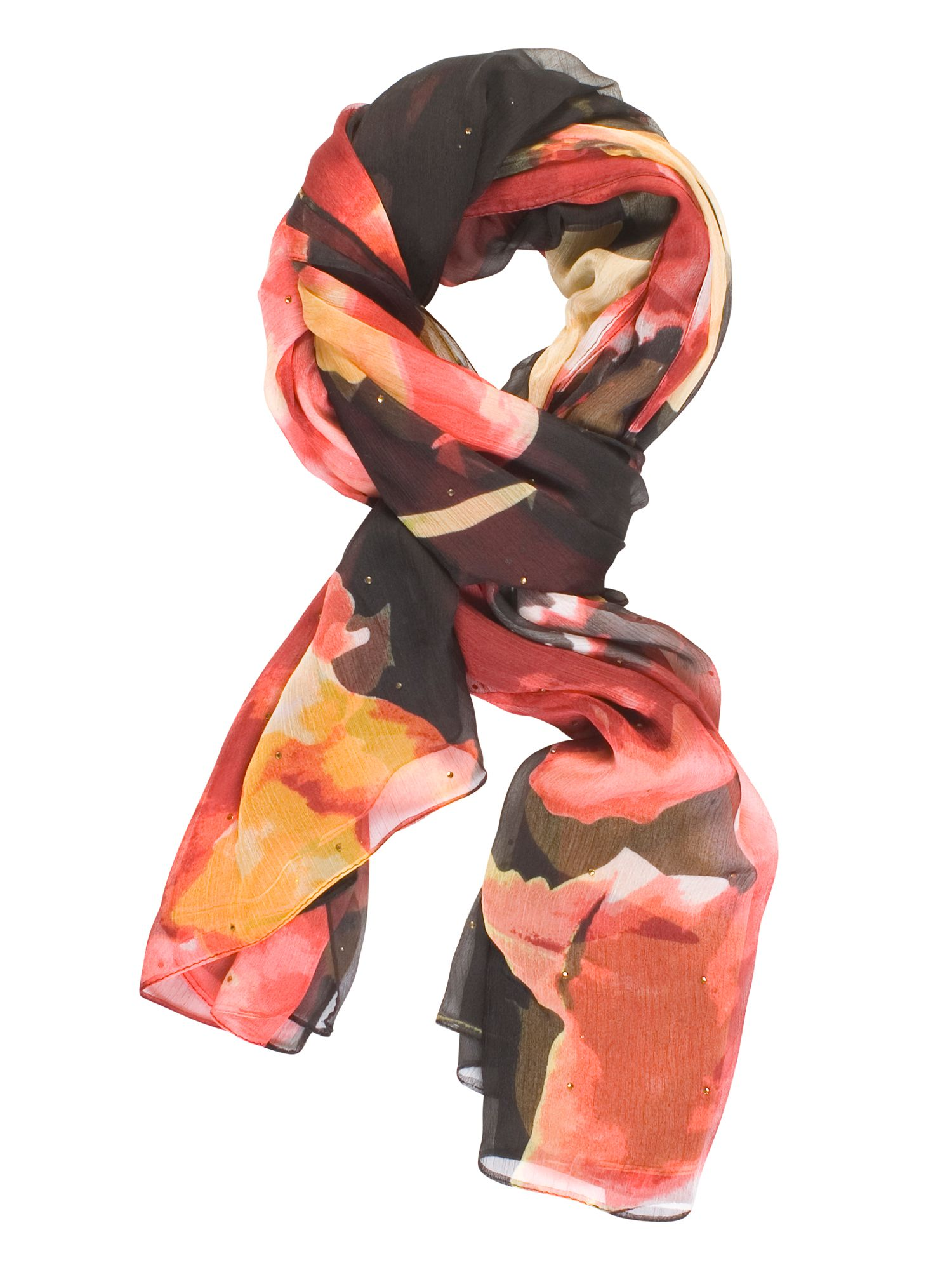Chesca Abstract Floral Printed Scarf, Black Multi