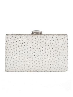 Floral Lace and Diamanté Clutch Bag