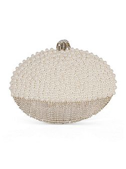 Pearl and Diamanté Oval Clutch Bag