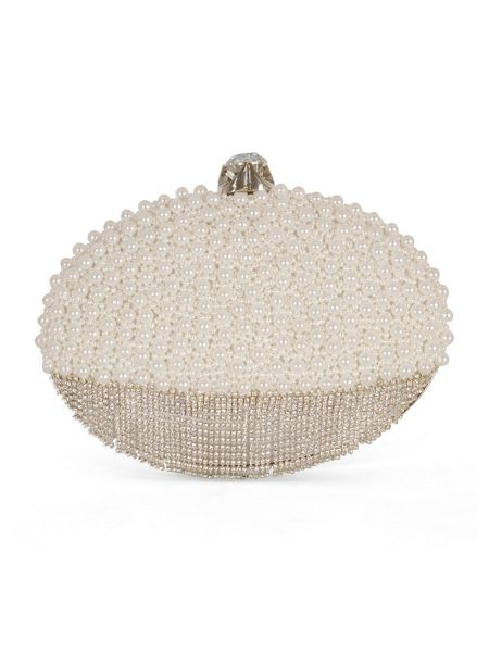 Chesca Pearl and Diamanté Oval Clutch Bag