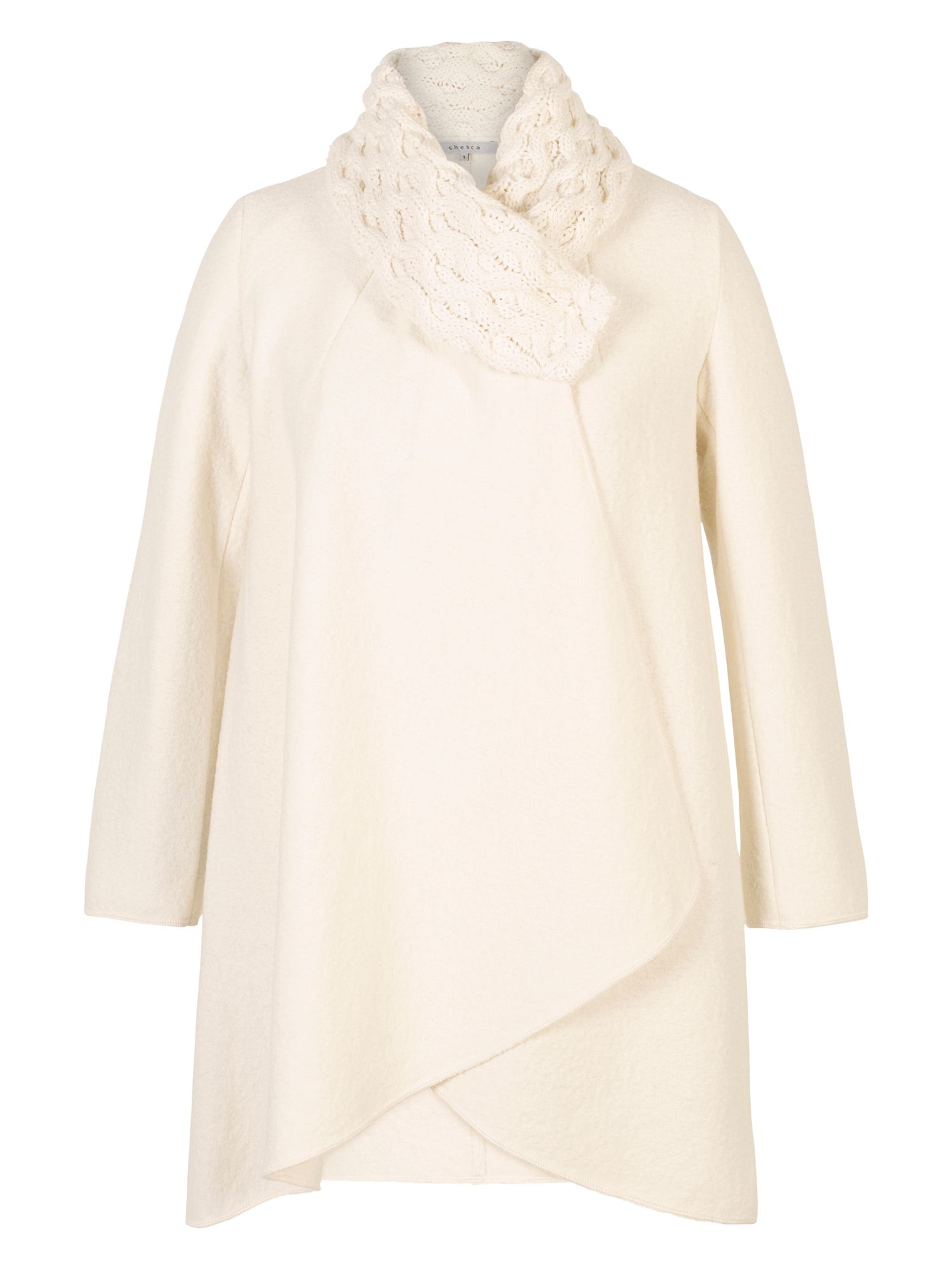 Chesca Aran Collar Coat, White