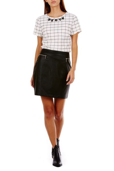 Sugarhill Boutique Keira Textured Pu Skirt