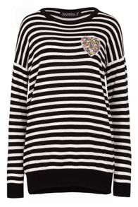 Sugarhill Boutique Gertrud Heart Stripe Applique Sweater