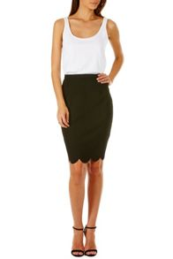 Sugarhill Boutique Neda Scallop Hem Pencil Skirt
