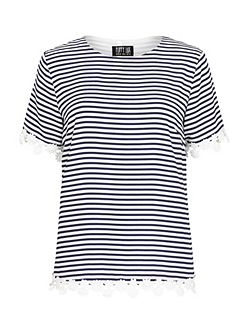 Raina Stripe Lace Edge Tee Top