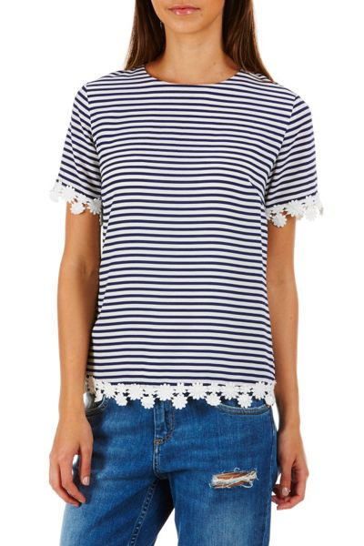 Poppy Lux Raina Stripe Lace Edge Tee Top