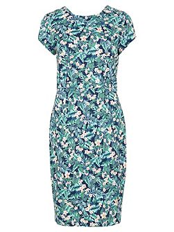 Serita Palm Floral Knee Length Dress