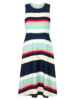 Liza Summer Stripe A-Line Midi Dress