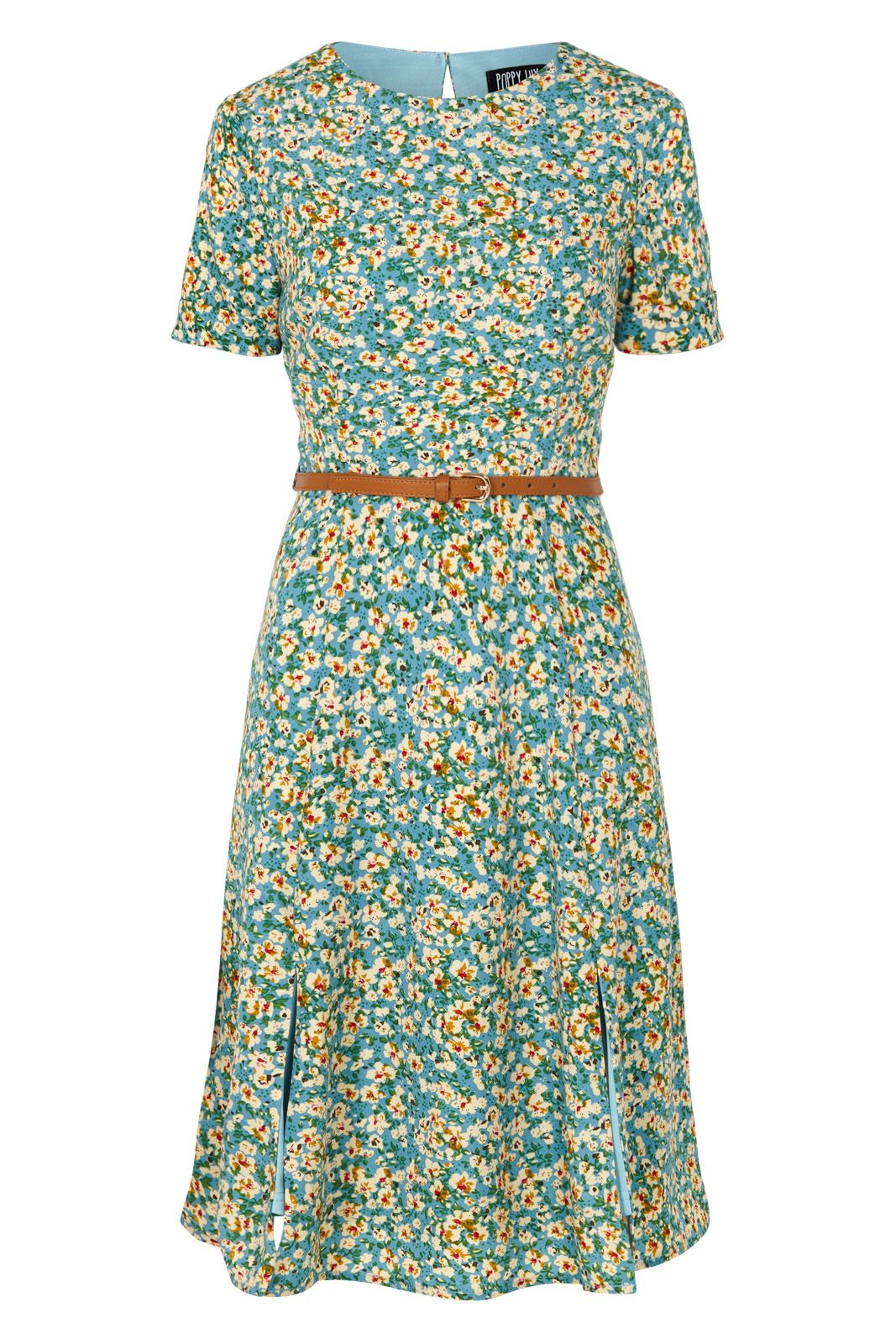 Poppy Lux Duska Floral Fit And Flare Dress, Multi-coloured
