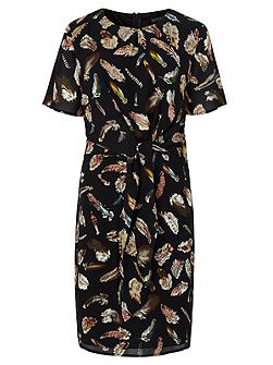 Yvette Feather Print Tie Dress