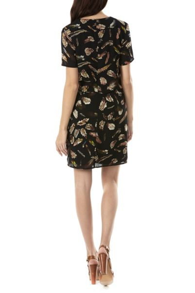 Sugarhill Boutique Yvette Feather Print Tie Dress